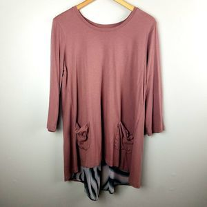 LOGO Lori Goldstein Mauve Split Back Tunic